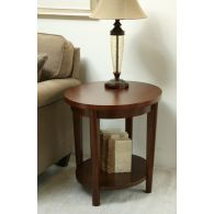 Contemporary Oval End Table with Low Shelf