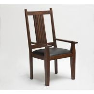 Mission Style Arm Chair with Black Leather Seat