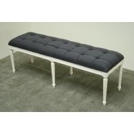 Gray Linen French Style Bench in Antique White Finish