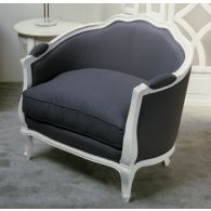 Gray Linen French Style Club Chair in Antique White Finish