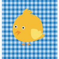 Checkered Blue Animal Bird 23W X 23H
