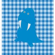Checkered Blue Animal Walrus 23W X 23H