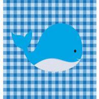 Checkered Blue Animal Whale 23W X 23H