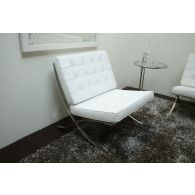 White Leather Barcelona Style Chair