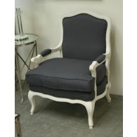 Gray Linen Bergere Chair in Antique White Finish