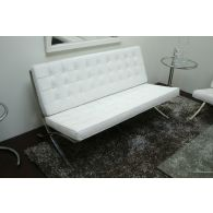 White Leather Barcelona Style Loveseat