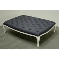 Gray Linen Tufted Ottoman in Antique White Finish