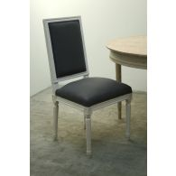 Gray Linen Louis Side Chair in Antique White Finish