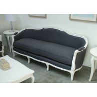Gray Linen French Style Sofa in Antique White Finish