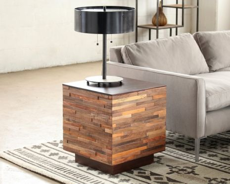 Recycled Wood Block Side Table To Rent As Prop