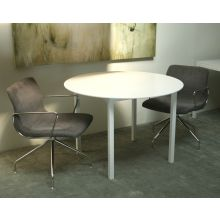Round Dining Table with White Top