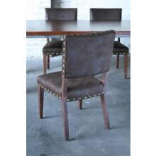 Brown Nubuck Dining Chair with Nailhead Trim
