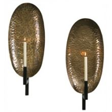 Pair of Antique Brass Oval Wall Sconces