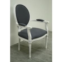 Gray Linen Oval Louis Arm Chair in Antique White Finish