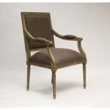Limed Gray Louis Arm Chair with Aubergine Linen Upholstery