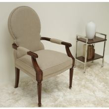 Taupe Linen Arm Chair with Nickel Nailhead Trim