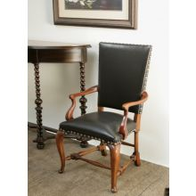 Black Leather Arm Chair with Cabriole Legs