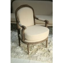 Louis Parlor Style Cream Linen Arm Chair with Nailhead Trim