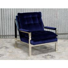 Nickel Plated Arm Chair With Navy Velvet Cushions