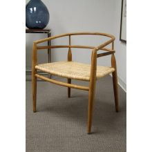 Teak Arm Chair with Rattan Seat