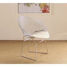 Bertoia Style Chrome Diamond Arm Chair