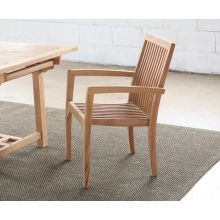 Natural Teak Slatback Arm Chair