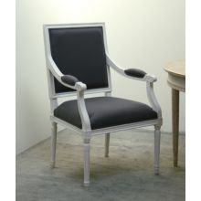 Gray Linen Louis Square Back Arm Chair in Antique White Finish