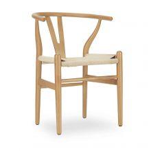 Beech Wishbone Arm Chair w/ Natural Seat