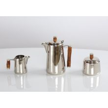 Nickel Tea Set With Bamboo Handles (Set of 3)