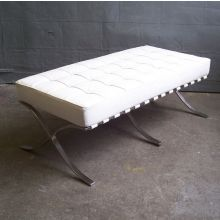 White Leather Barcelona Style Bench