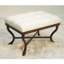 Ella Bench in Tufted Oyster Linen Upholstery