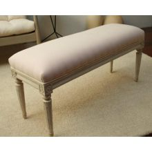 Chelsea Textiles Antique White With Pink Muslin Gustavian Bench