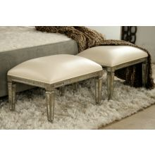 Oly Morgan Bench in Antique Silver Mirror with Ivory Leather Upholstery
