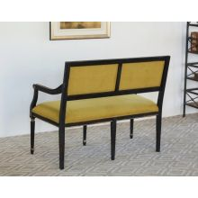 Isabella Hall Bench in Powder Black Finish with Fern Green Upholstery