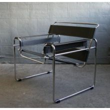 Black Leather Wassily Style Lounge Chair