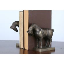 Pair of Brass Tang Horse Bookends