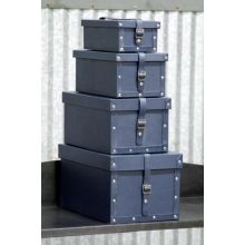 Set of 4 Ink Leather Shoe Boxes