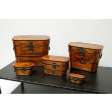 Set of 5 Wood and Iron Boxes