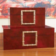 Red Faux Skin & Bamboo Boxes (Set of 2)