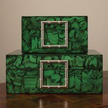 Set of 2 Faux Malachite Boxes