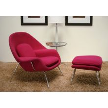 Fuchsia Womb Style Chair and Ottoman