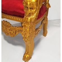 Red And Gold King David Throne W/Jeweled Buttons