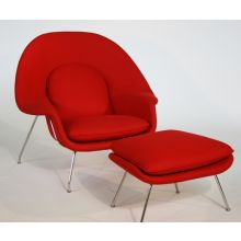 Red Womb Style Chair and Ottoman