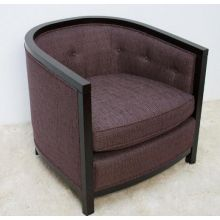 Eggplant Tweed Barrel Club Chair