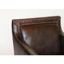 Cigar Leather Club Chair With Nailhead Trim