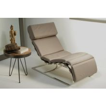 Taupe Leather and Chrome Chaise Lounge