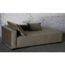 Contemporary Mushroom Velvet Chaise Lounge (Left Arm Facing)