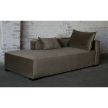 Contemporary Mushroom Velvet Chaise Lounge (Right Arm Facing)