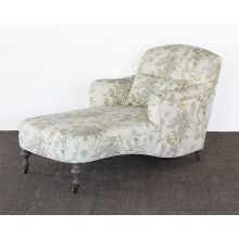 Floral Upholstered Chaise with Turned Legs