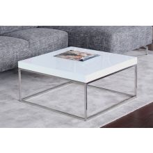 High Gloss White and Stainless Steel Square Coffee Table